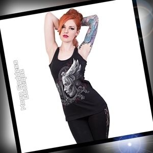 Gothic Womans DARK FUSION - Razor Back Top Sz: Sm